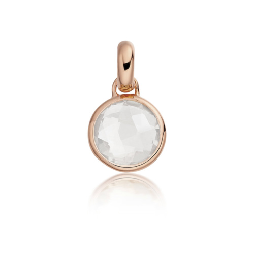 Rose Gold Vermeil Mini Luna Pendant - Rock Crystal - Monica Vinader