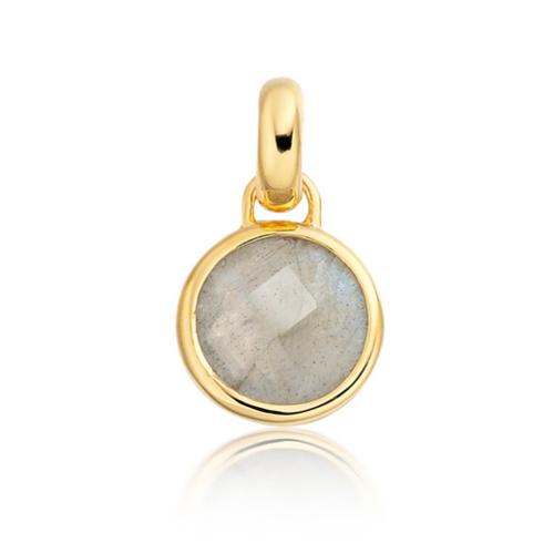 Gold Vermeil Mini Luna Pendant - Labradorite - Monica Vinader