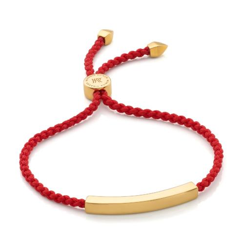 Gold Vermeil Linear Friendship Bracelet - Coral - Monica Vinader
