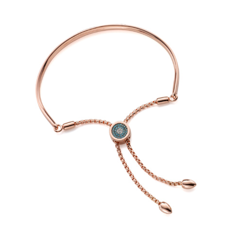 Rose Gold Vermeil Fiji Evil Eye Toggle Bracelet - Blue Diamond - Monica Vinader