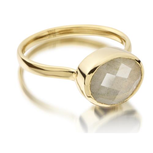 Gold Vermeil Candy Oval Ring - Labradorite - Monica Vinader