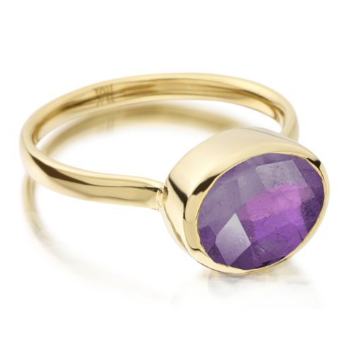 Gold Vermeil Candy Oval Ring - Amethyst - Monica Vinader