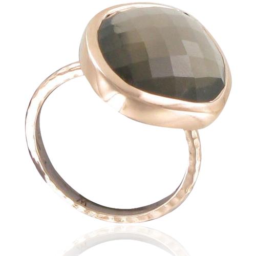 Rose Gold Vermeil Nugget Ring - Large - Smoky Quartz - Monica Vinader