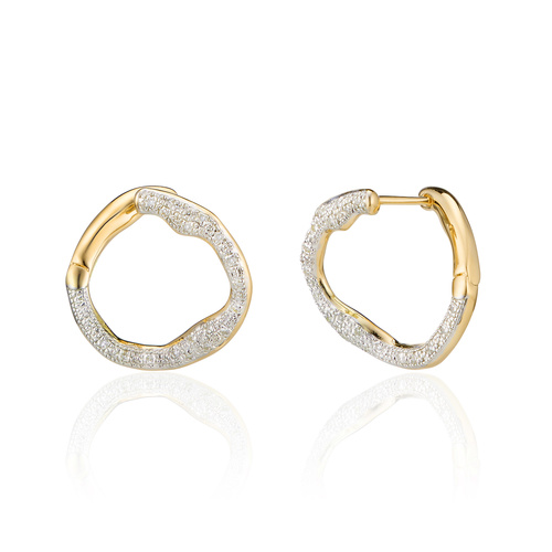 Gold Vermeil Riva Diamond Circle Earrings - Diamond - Monica Vinader