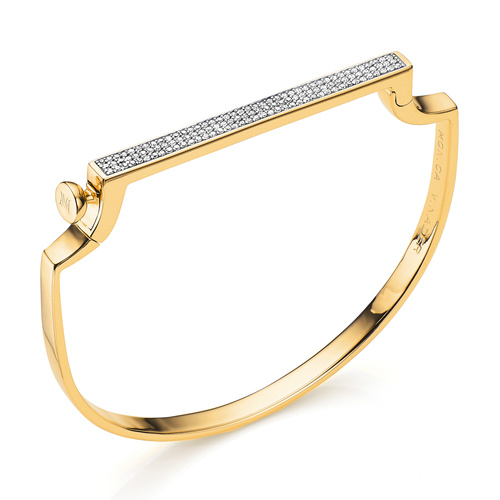 Gold Vermeil Signature Large Thin Bangle  - Diamond - Monica Vinader