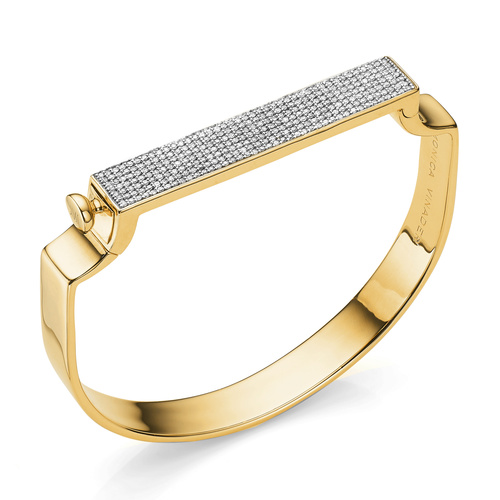 Gold Vermeil Signature Large Bangle  - Diamond - Monica Vinader