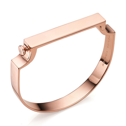 Rose Gold Vermeil Signature Large Bangle  - Monica Vinader
