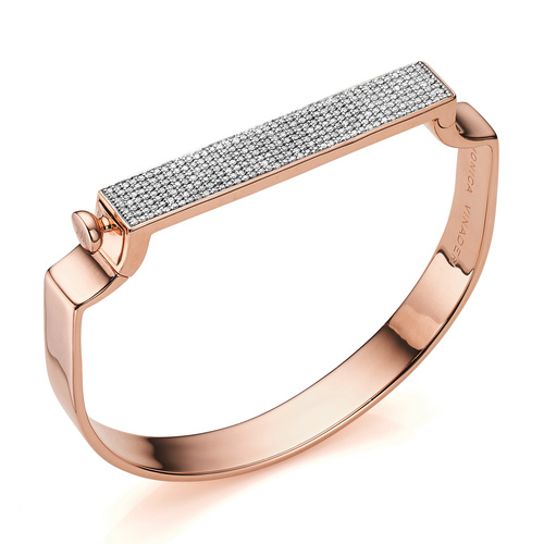Rose Gold Vermeil Signature Large Bangle  - Diamond - Monica Vinader