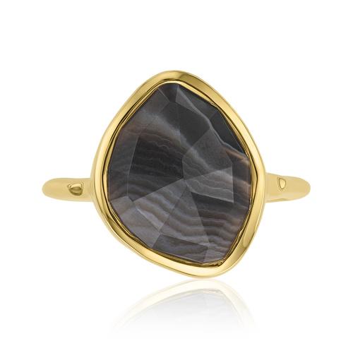 Gold Vermeil Siren Nugget Stacking Ring - Black Line Onyx - Monica Vinader