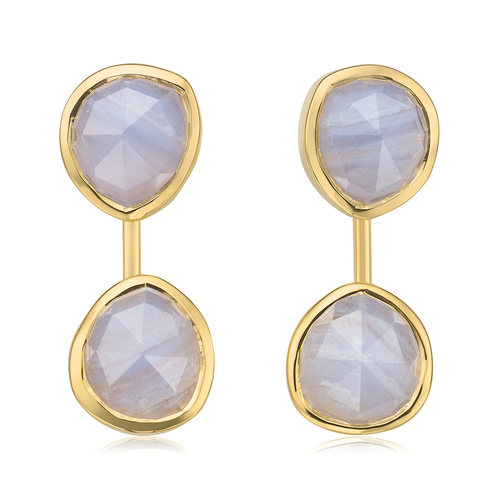 Gold Vermeil Siren Jacket Earrings - Blue Lace Agate - Monica Vinader