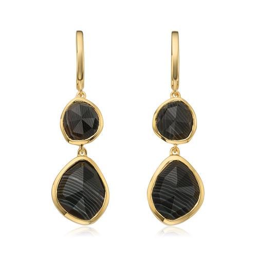Gold Vermeil Siren Double Nugget Drop Earrings - Black Line Onyx - Monica Vinader