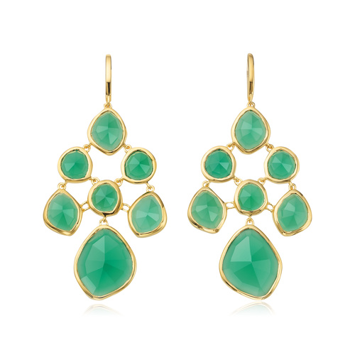 Gold Vermeil Siren Chandelier Earrings - Green Onyx - Monica Vinader