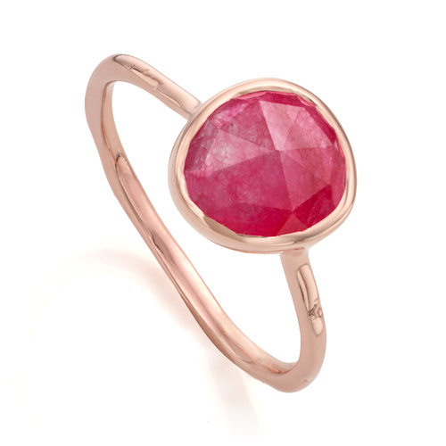 Rose Gold Vermeil Siren Stacking Ring - Pink Quartz - Monica Vinader