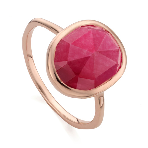 Rose Gold Vermeil Siren Medium Stacking Ring - Pink Quartz - Monica Vinader