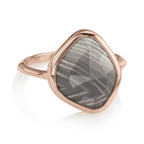 Rose Gold Vermeil Siren Nugget Stacking Ring - Grey Agate - Monica Vinader