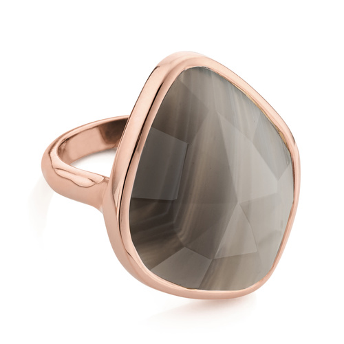 Rose Gold Vermeil Siren Nugget Ring - Grey Agate - Monica Vinader