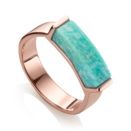Rose Gold Vermeil Linear Stone Ring - Amazonite - Monica Vinader