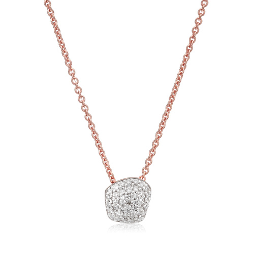 Rose Gold Vermeil Nura Mini Nugget Necklace  - Diamond - Monica Vinader