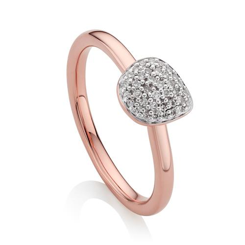 Rose Gold Vermeil Nura Mini Pebble Stacking Ring - Diamond - Monica Vinader