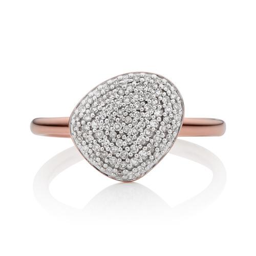 Rose Gold Vermeil Nura Pebble Stacking Ring - Diamond - Monica Vinader