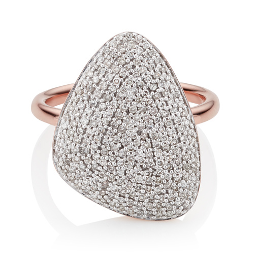 Rose Gold Vermeil Nura Teardrop Ring - Diamond - Monica Vinader