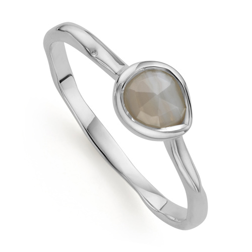 Siren Small Stacking Ring - Grey Agate - Monica Vinader