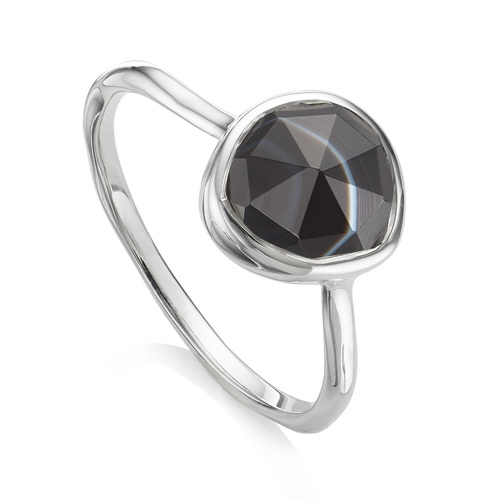 Siren Stacking Ring - Black Line Onyx - Monica Vinader