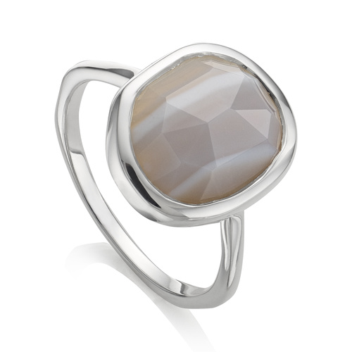 Siren Medium Stacking Ring - Grey Agate - Monica Vinader