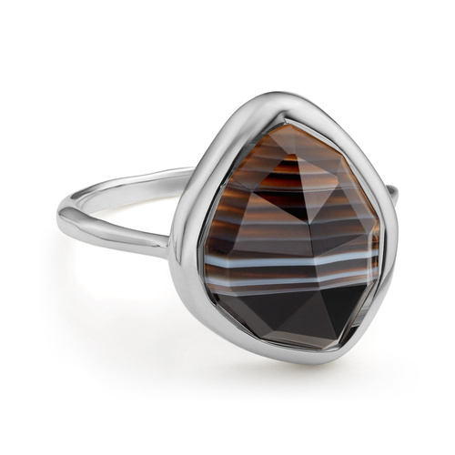 Siren Nugget Stacking Ring - Black Line Onyx - Monica Vinader