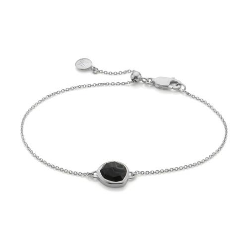 Siren Fine Chain Bracelet - Black Line Onyx - Monica Vinader