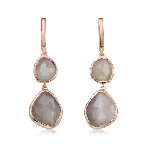Rose Gold Vermeil Siren Double Nugget Drop Earrings - Grey Agate - Monica Vinader