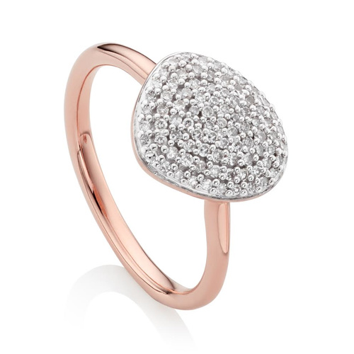 Rose Gold Vermeil Nura Pebble Stacking Ring - Diamond - Monica Vinader