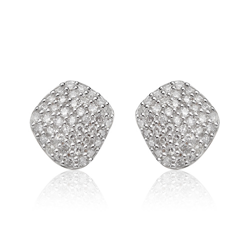 Rose Gold Vermeil Nura Nugget Stud Earrings - Diamond - Monica Vinader