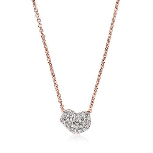 Rose Gold Vermeil Nura Mini Heart Necklace - Diamond - Monica Vinader
