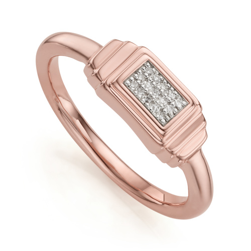 Rose Gold Vermeil Baja Deco Ring - Diamond - Monica Vinader