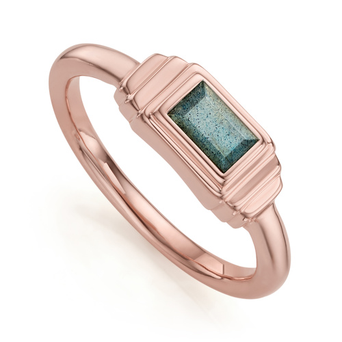 Rose Gold Vermeil Baja Deco Ring - Labradorite - Monica Vinader