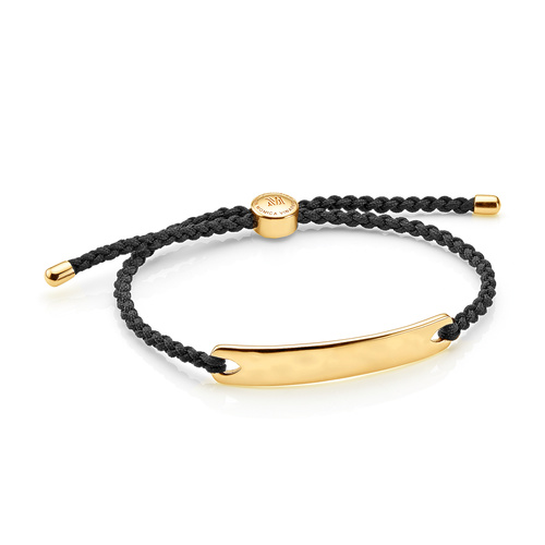 Gold Vermeil Havana Men's Friendship Bracelet - Black - Monica Vinader