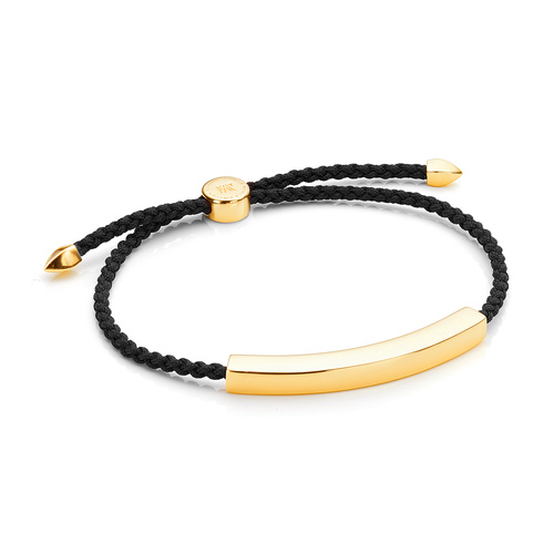 Gold Vermeil Linear Large Men's Friendship Bracelet - Black - Monica Vinader