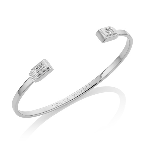 Baja Deco Thin Cuff - Diamond - Monica Vinader