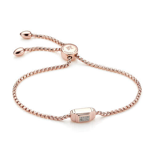 Rose Gold Vermeil Baja Deco Bracelet - Diamond - Monica Vinader