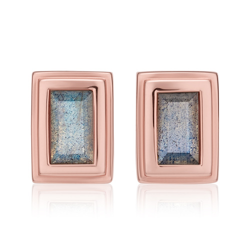 Rose Gold Vermeil Baja Deco Stud Earrings - Labradorite - Monica Vinader