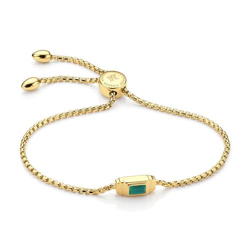 Gold Vermeil Baja Deco Bracelet - Green Onyx - Monica Vinader