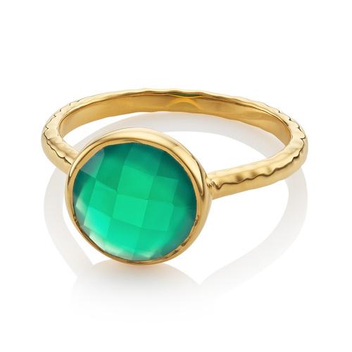Gold Vermeil Mini Luna Ring - Green Onyx - Monica Vinader