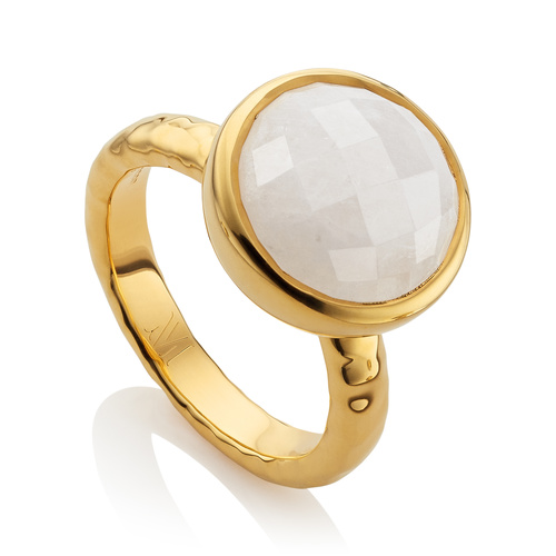 Gold Vermeil Medina Facet Ring - Moonstone - Monica Vinader