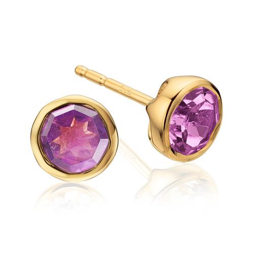 Gold Vermeil Isla Stud Earrings - Amethyst - Monica Vinader