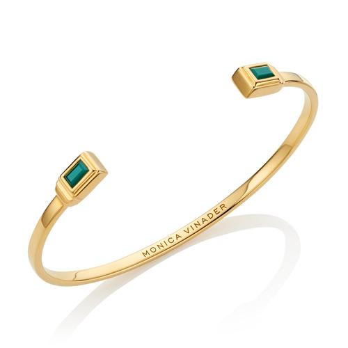 Gold Vermeil Baja Deco Thin Cuff - Small - Green Onyx - Monica Vinader
