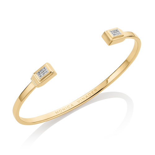 Gold Vermeil Baja Deco Thin Cuff - Large - Diamond - Monica Vinader