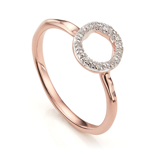 Rose Gold Vermeil Riva Mini Circle Stacking Ring - Diamond - Monica Vinader