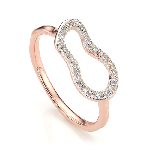 Rose Gold Vermeil Riva Mini Pod Ring - Diamond - Monica Vinader