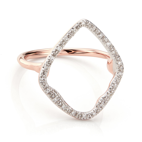 Rose Gold Vermeil Riva Hoop Cocktail Ring - Diamond - Monica Vinader